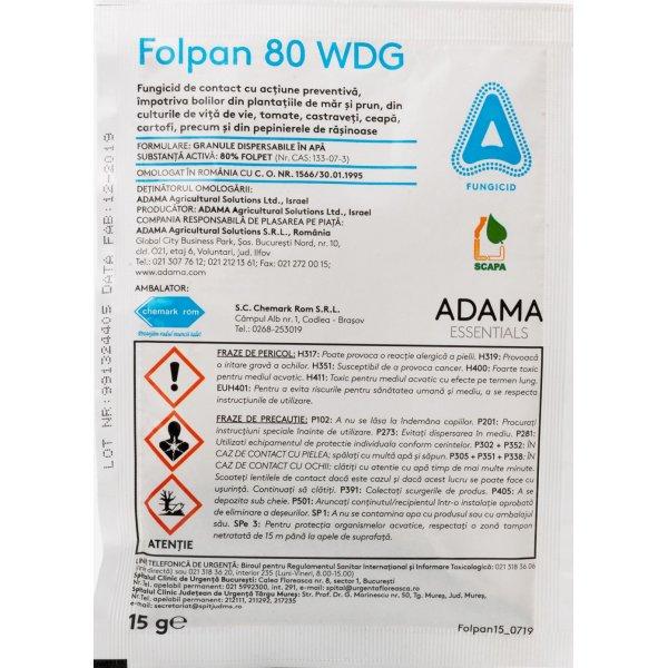 FOLPAN 80 WDG este un fungicid de contact cu actiune multi-site specifica mai ales impotriva ciupercilor care provoaca mana, rapanul si monilioza la culturile horticole.